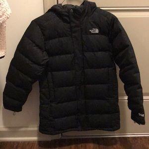 North face black patterned coat
